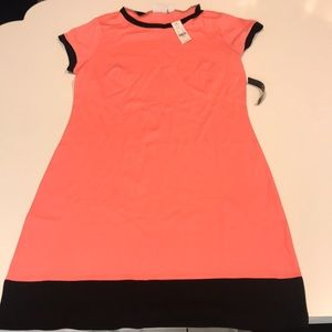Cute Coral and black cotton dress NY & Co
